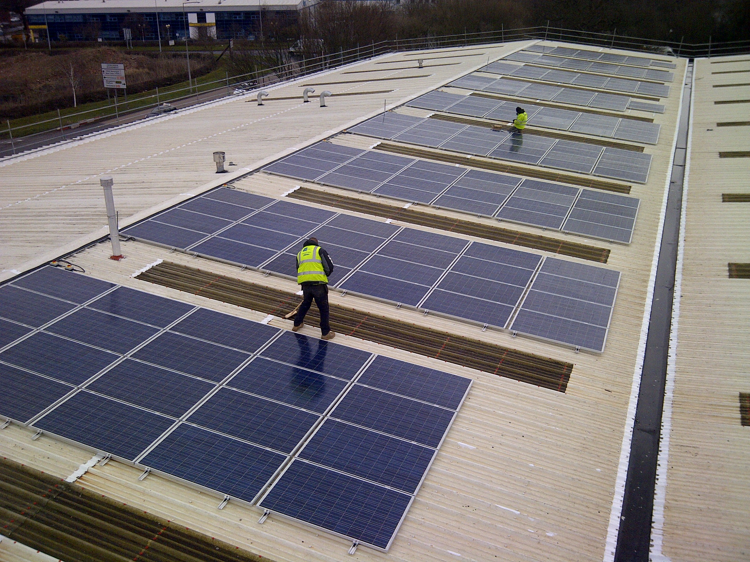 50 Kw solar panel array on the roof of Bastion House